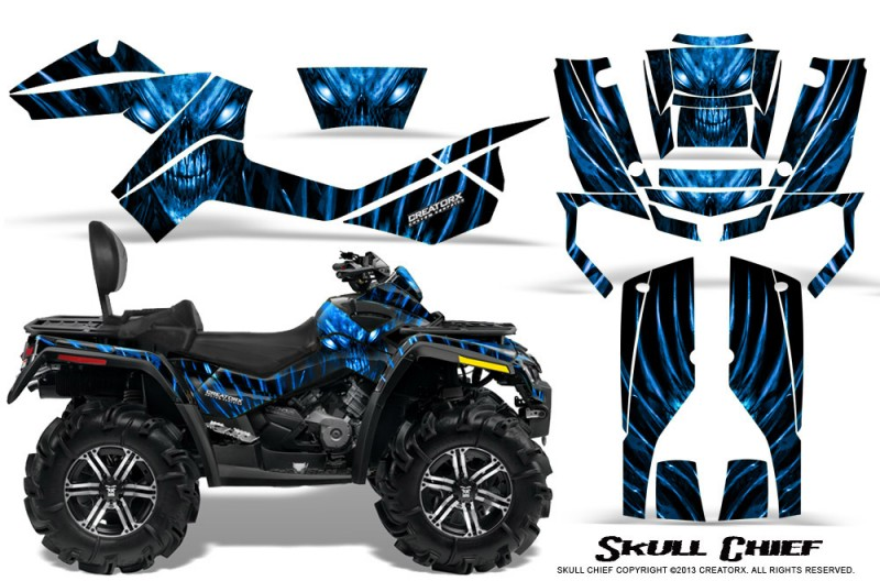 Can-Am-Outlander-MAX-CreatorX-Graphics-Kit-Skull-Chief-Blue