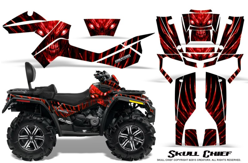 Can-Am-Outlander-MAX-CreatorX-Graphics-Kit-Skull-Chief-Red-BB