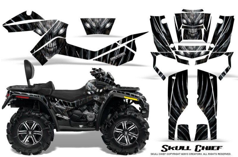 Can-Am-Outlander-MAX-CreatorX-Graphics-Kit-Skull-Chief-Silver
