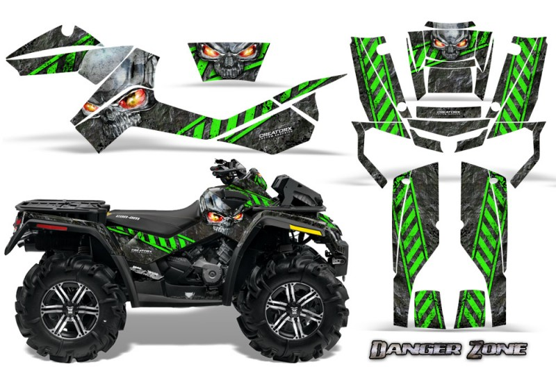 Can-Am-Outlander-XMR-CreatorX-Graphics-Kit-Danger-Zone-Green-Black