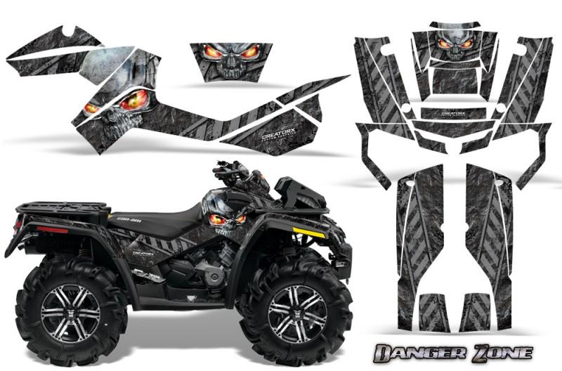 Can-Am-Outlander-XMR-CreatorX-Graphics-Kit-Danger-Zone-Silver-Black