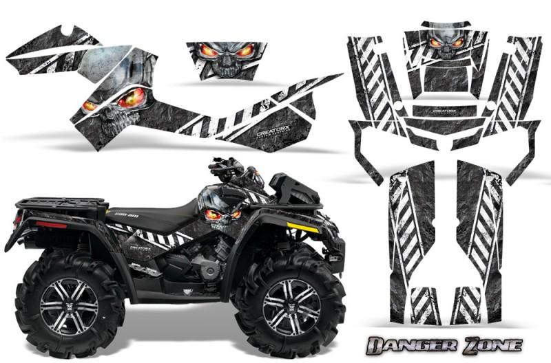 Can-Am-Outlander-XMR-CreatorX-Graphics-Kit-Danger-Zone-White-Black