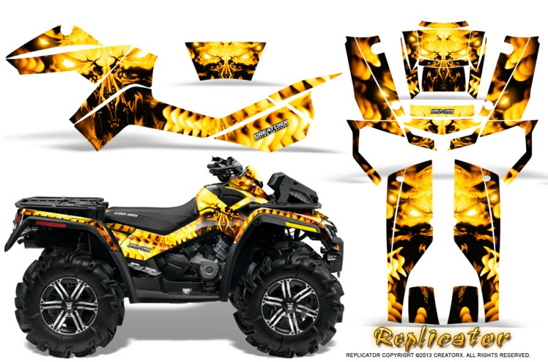Can-Am-Outlander-XMR-CreatorX-Graphics-Kit-Replicator-Yellow