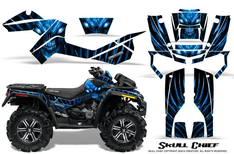 Can-Am-Outlander-XMR-CreatorX-Graphics-Kit-Skull-Chief-Blue