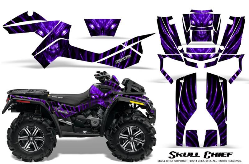 Can-Am-Outlander-XMR-CreatorX-Graphics-Kit-Skull-Chief-Purple
