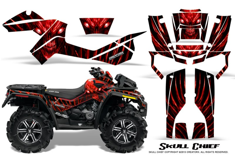 Can-Am-Outlander-XMR-CreatorX-Graphics-Kit-Skull-Chief-Red