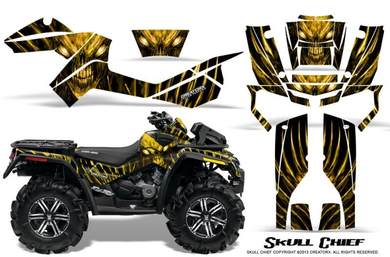 Can-Am-Outlander-XMR-CreatorX-Graphics-Kit-Skull-Chief-Yellow-BB