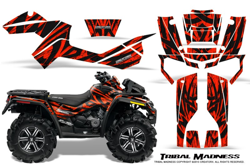 Can-Am-Outlander-XMR-CreatorX-Graphics-Kit-Tribal-Madness-Red