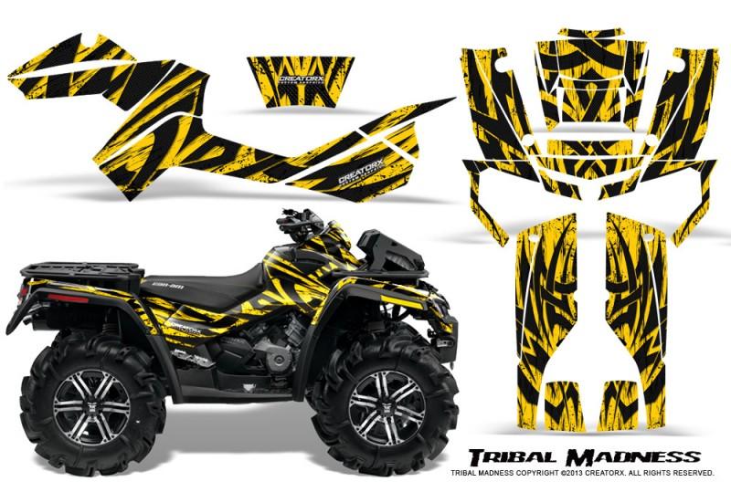 Can-Am-Outlander-XMR-CreatorX-Graphics-Kit-Tribal-Madness-Yellow