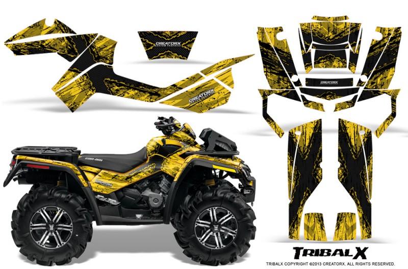 Can-Am-Outlander-XMR-CreatorX-Graphics-Kit-TribalX-Black-Yellow