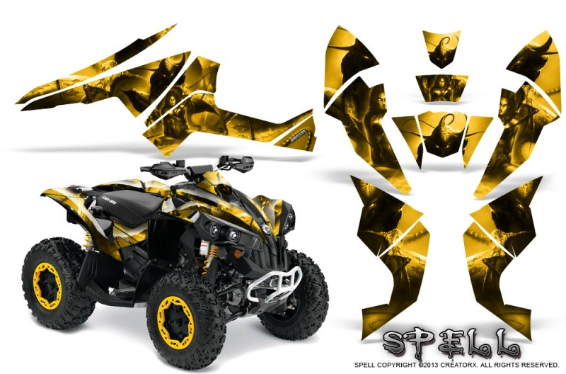 Can-Am-Renegade-800-CreatorX-Graphics-Kit-Spell-Yellow