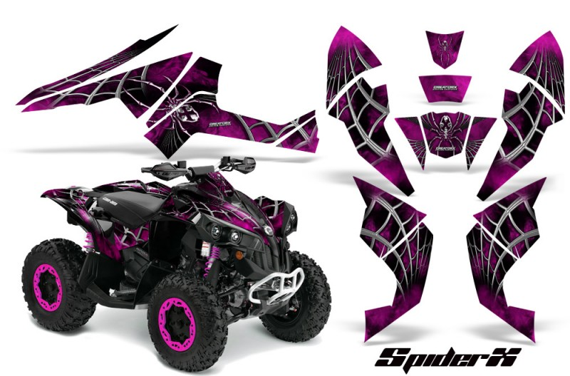 Can-Am-Renegade-800-CreatorX-Graphics-Kit-SpiderX-Pink