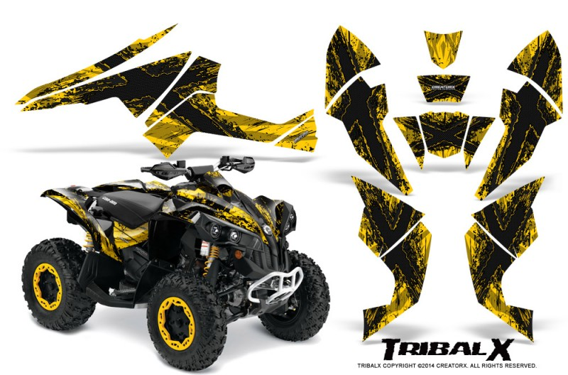 Can-Am-Renegade-800-CreatorX-Graphics-Kit-TribalX-Black-Yellow