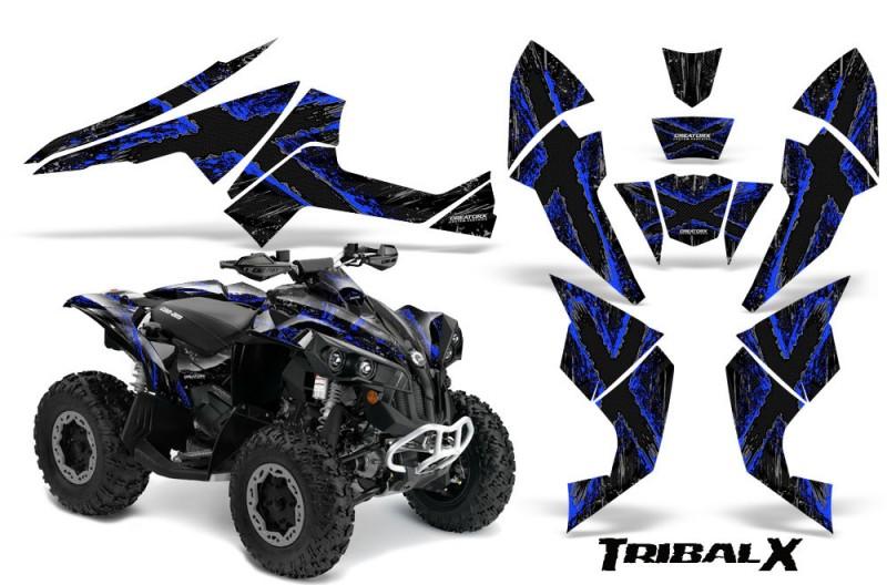 Can-Am-Renegade-800-CreatorX-Graphics-Kit-TribalX-Blue-Black