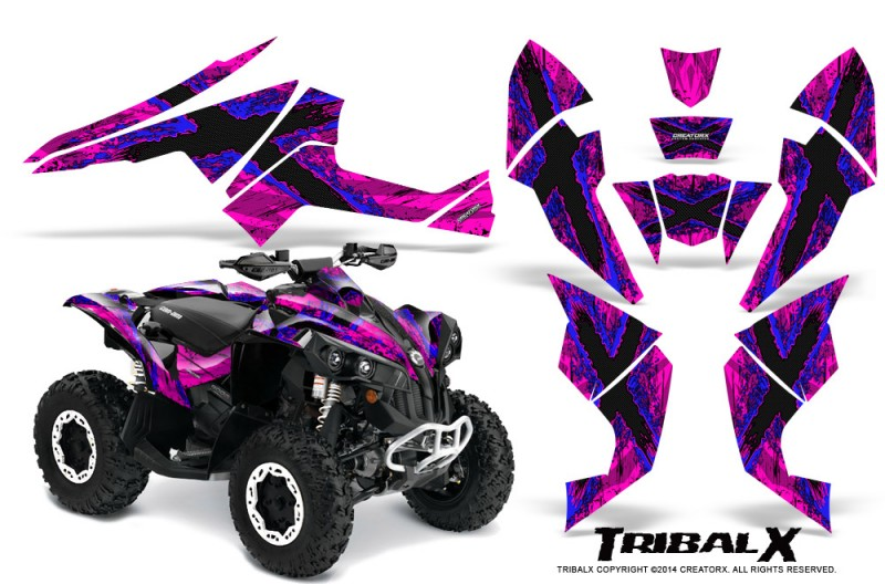 Can-Am-Renegade-800-CreatorX-Graphics-Kit-TribalX-Blue-Pink