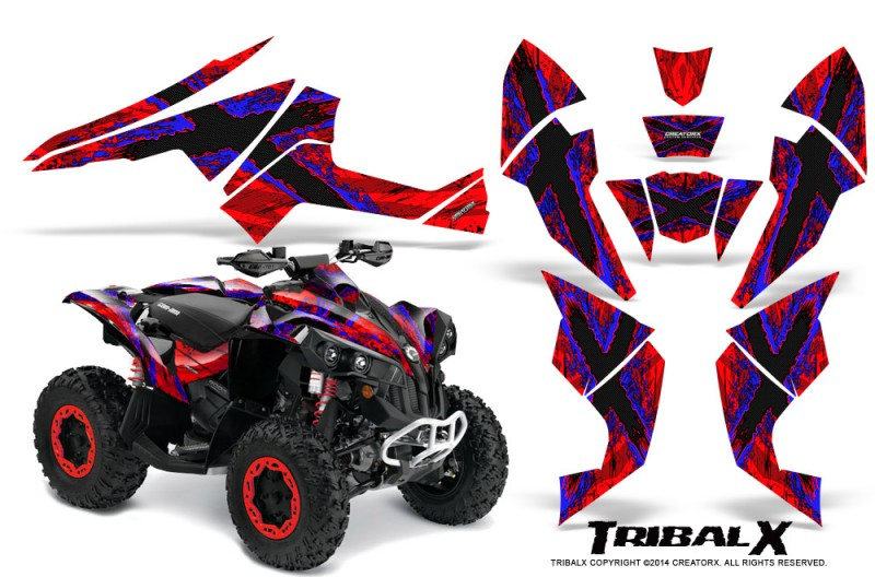 Can-Am-Renegade-800-CreatorX-Graphics-Kit-TribalX-Blue-Red