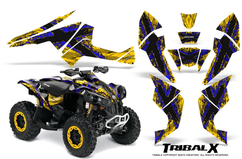 Can-Am-Renegade-800-CreatorX-Graphics-Kit-TribalX-Blue-Yellow