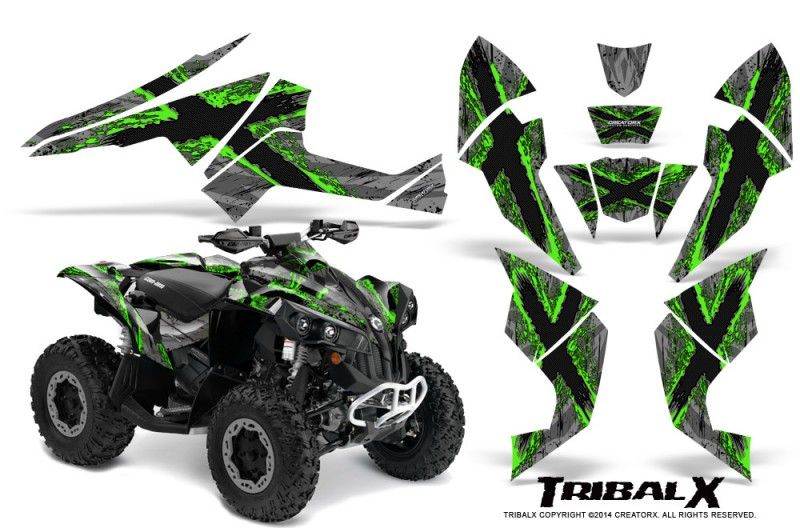 Can-Am-Renegade-800-CreatorX-Graphics-Kit-TribalX-Green-Silver