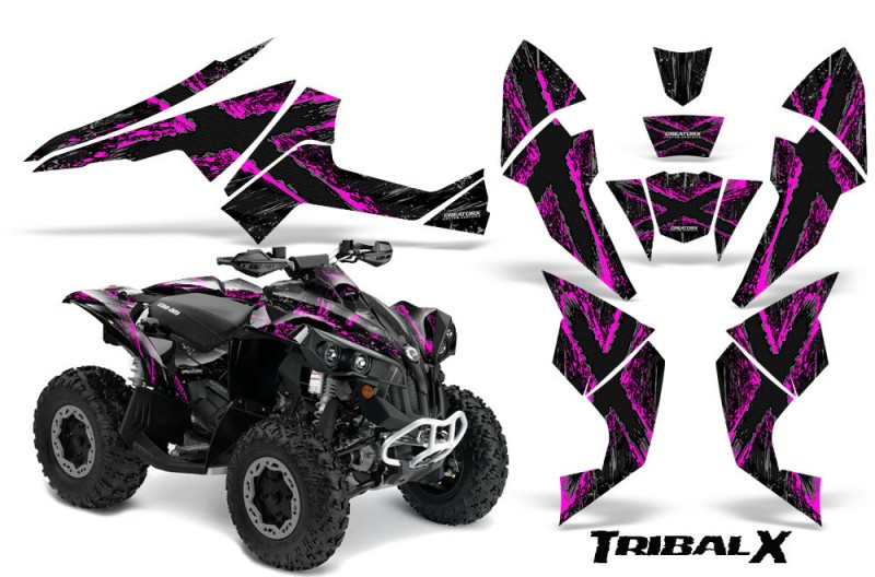 Can-Am-Renegade-800-CreatorX-Graphics-Kit-TribalX-Pink-Black
