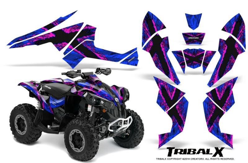 Can-Am-Renegade-800-CreatorX-Graphics-Kit-TribalX-Pink-Blue
