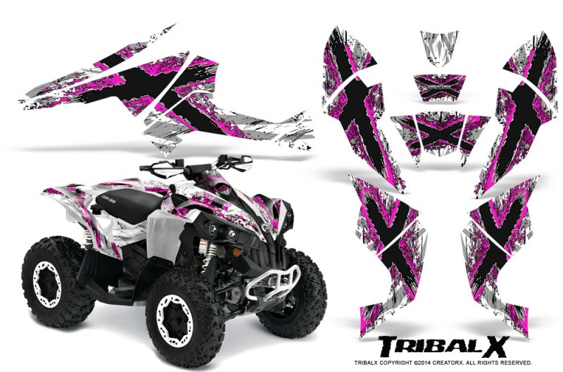 Can-Am-Renegade-800-CreatorX-Graphics-Kit-TribalX-Pink-White