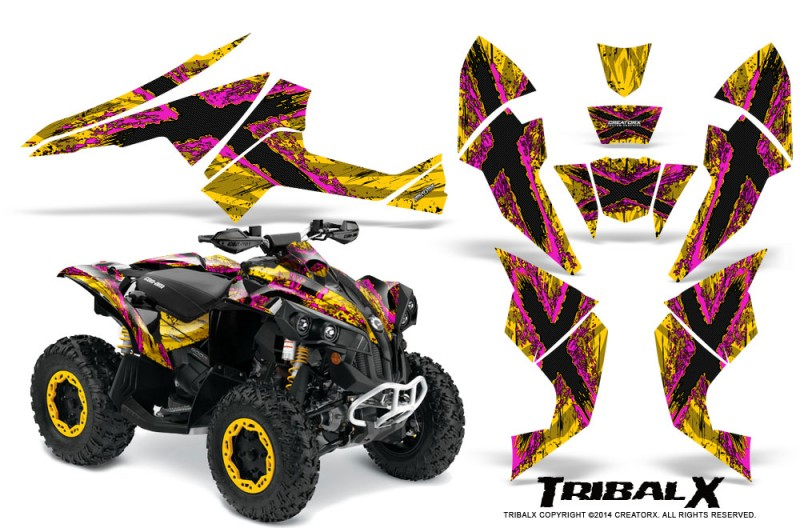 Can-Am-Renegade-800-CreatorX-Graphics-Kit-TribalX-Pink-Yellow