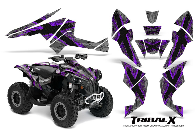 Can-Am-Renegade-800-CreatorX-Graphics-Kit-TribalX-Purple-Silver