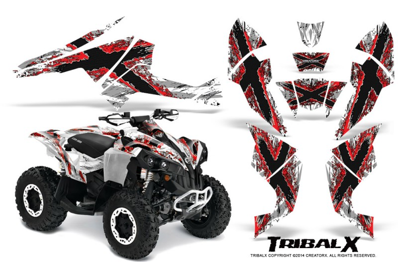 Can-Am-Renegade-800-CreatorX-Graphics-Kit-TribalX-Red-White