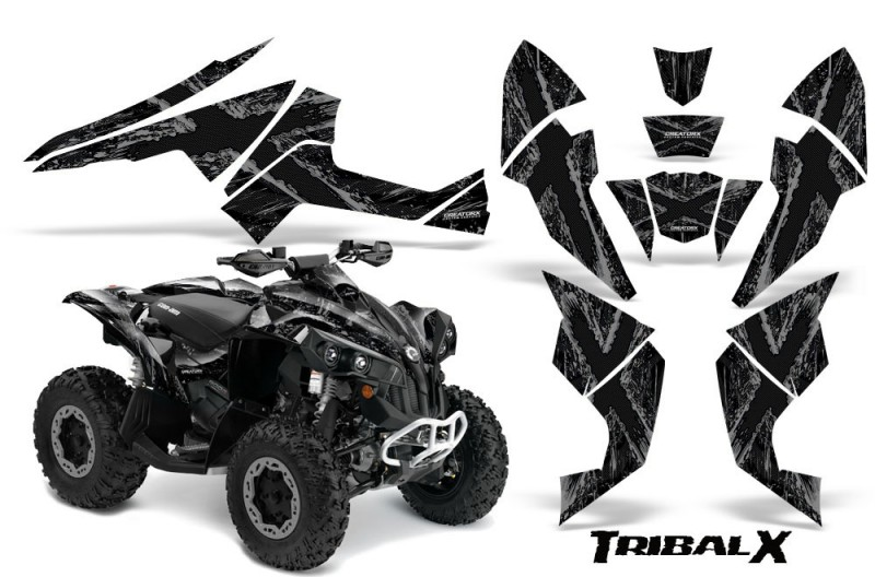Can-Am-Renegade-800-CreatorX-Graphics-Kit-TribalX-Silver-Black