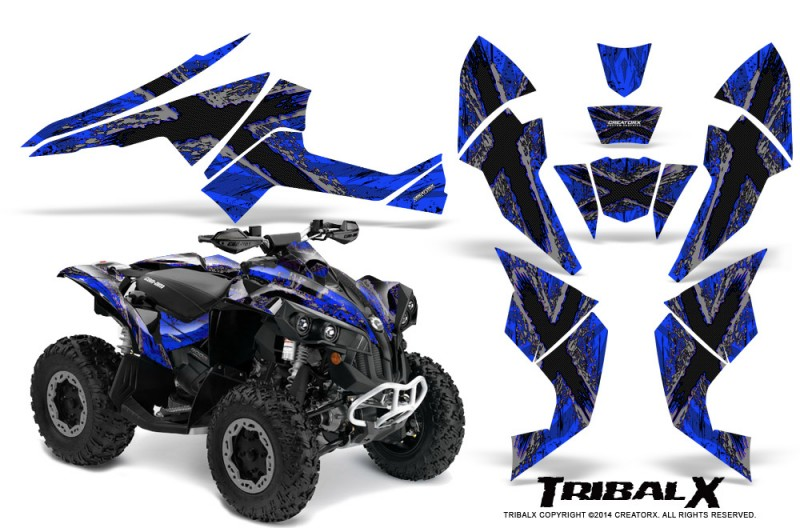 Can-Am-Renegade-800-CreatorX-Graphics-Kit-TribalX-Silver-Blue