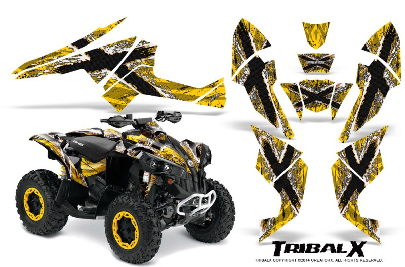 Can-Am-Renegade-800-CreatorX-Graphics-Kit-TribalX-White-Yellow