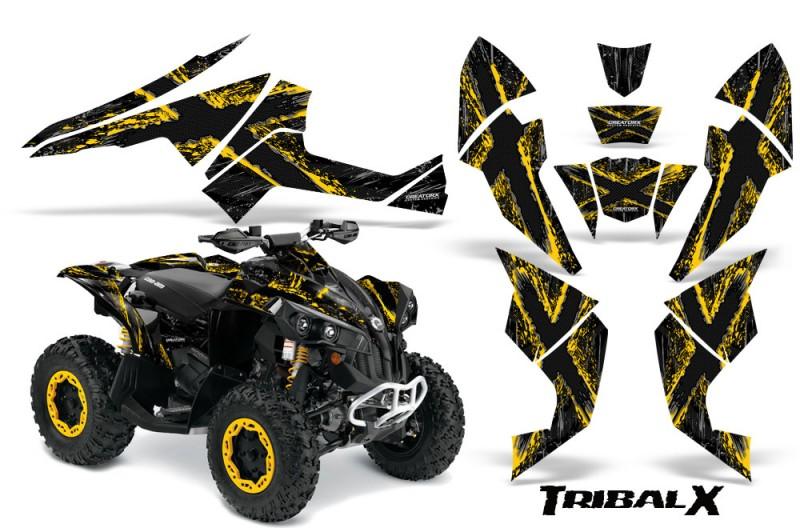 Can-Am-Renegade-800-CreatorX-Graphics-Kit-TribalX-Yellow-Black-BB