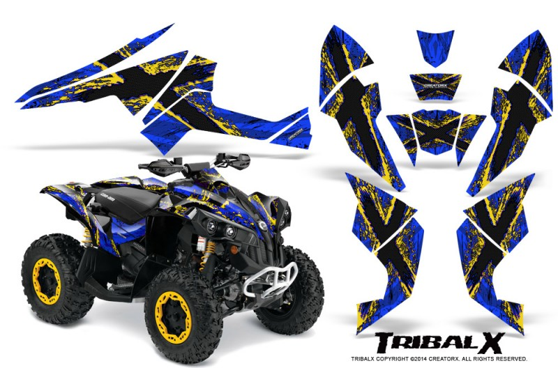 Can-Am-Renegade-800-CreatorX-Graphics-Kit-TribalX-Yellow-Blue