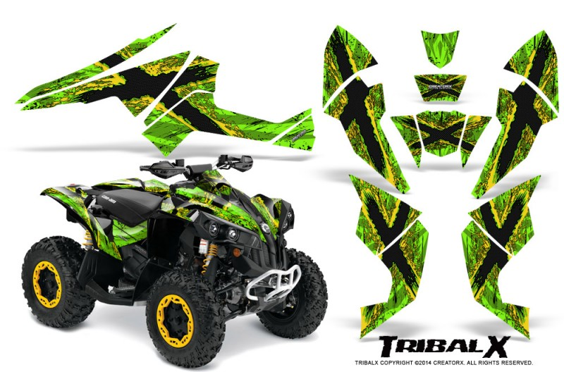 Can-Am-Renegade-800-CreatorX-Graphics-Kit-TribalX-Yellow-Green
