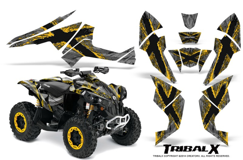 Can-Am-Renegade-800-CreatorX-Graphics-Kit-TribalX-Yellow-Silver