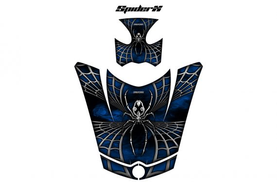 Can Am Spyder Hood CreatorX Graphics Kit SpiderX Blue 570x376 - Can-Am Spyder RS GS ST Hood and Rear Fender Graphics