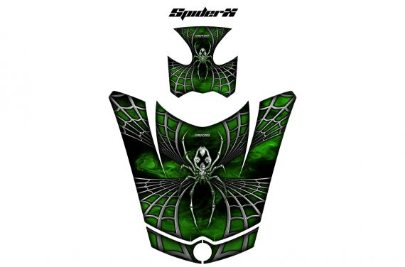 Can Am Spyder Hood CreatorX Graphics Kit SpiderX Green Outline Green 570x376 - Can-Am Spyder RS GS ST Hood and Rear Fender Graphics