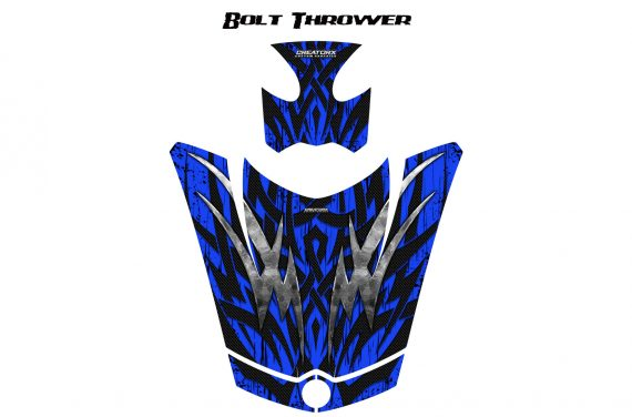 Can Am Spyder RS GS Hood Graphics Kit Bolt Thrower Blue 570x376 - Can-Am Spyder RS GS ST Hood and Rear Fender Graphics