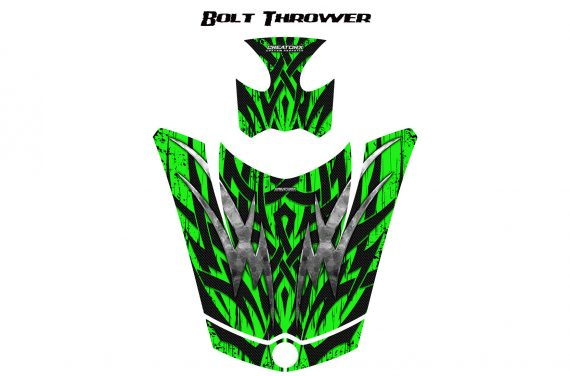 Can Am Spyder RS GS Hood Graphics Kit Bolt Thrower Green 570x376 - Can-Am Spyder RS GS ST Hood and Rear Fender Graphics