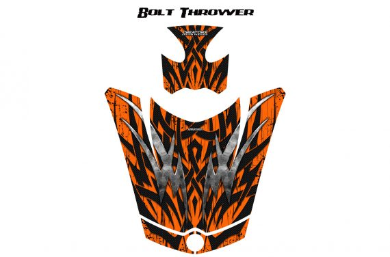 Can Am Spyder RS GS Hood Graphics Kit Bolt Thrower Orange 570x376 - Can-Am Spyder RS GS ST Hood and Rear Fender Graphics