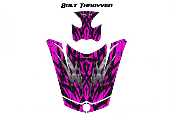 Can Am Spyder RS GS Hood Graphics Kit Bolt Thrower Pink 570x376 - Can-Am Spyder RS GS ST Hood and Rear Fender Graphics