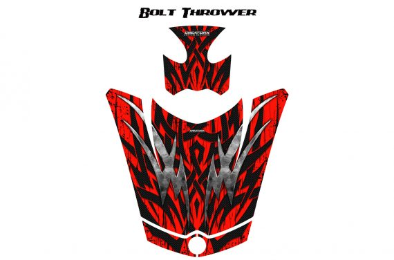 Can Am Spyder RS GS Hood Graphics Kit Bolt Thrower Red 570x376 - Can-Am Spyder RS GS ST Hood and Rear Fender Graphics
