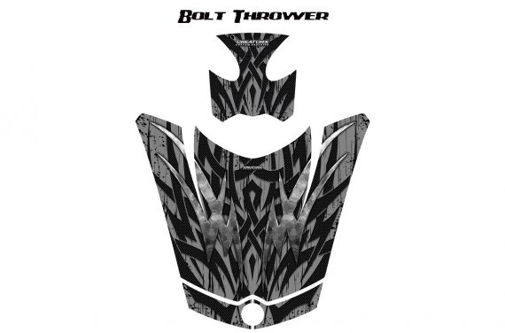 Can Am Spyder RS GS Hood Graphics Kit Bolt Thrower Silver 570x376 - Can-Am Spyder RS GS ST Hood and Rear Fender Graphics