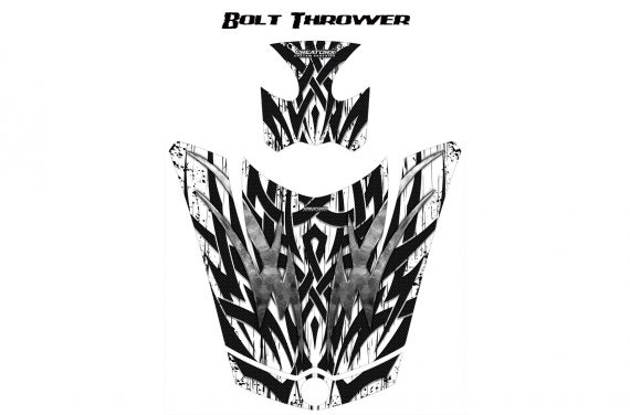 Can Am Spyder RS GS Hood Graphics Kit Bolt Thrower White 570x376 - Can-Am Spyder RS GS ST Hood and Rear Fender Graphics