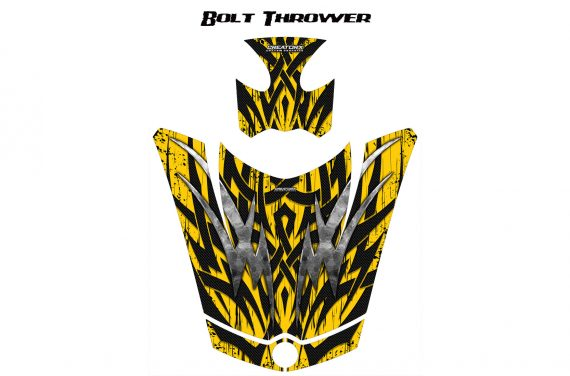 Can Am Spyder RS GS Hood Graphics Kit Bolt Thrower Yellow 570x376 - Can-Am Spyder RS GS ST Hood and Rear Fender Graphics