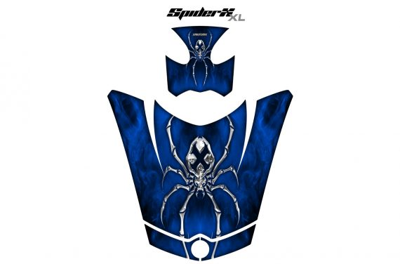 Can Am Spyder RS GS Hood Graphics Kit SpiderX XL Blue1 570x376 - Can-Am Spyder RS GS ST Hood and Rear Fender Graphics