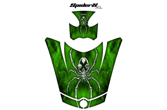 Can Am Spyder RS GS Hood Graphics Kit SpiderX XL Green1 570x376 - Can-Am Spyder RS GS ST Hood and Rear Fender Graphics