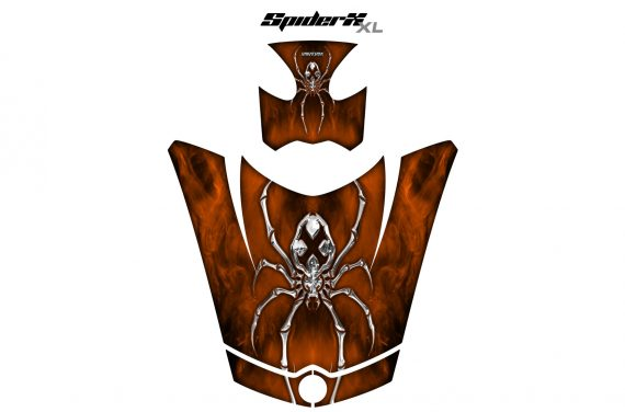Can Am Spyder RS GS Hood Graphics Kit SpiderX XL Orange Dark1 570x376 - Can-Am Spyder RS GS ST Hood and Rear Fender Graphics