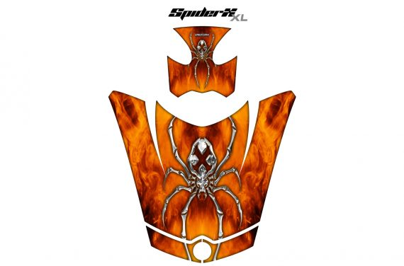 Can Am Spyder RS GS Hood Graphics Kit SpiderX XL Orange1 570x376 - Can-Am Spyder RS GS ST Hood and Rear Fender Graphics