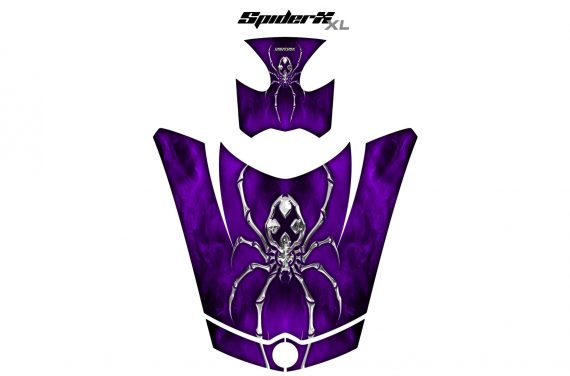 Can Am Spyder RS GS Hood Graphics Kit SpiderX XL Purple1 570x376 - Can-Am Spyder RS GS ST Hood and Rear Fender Graphics